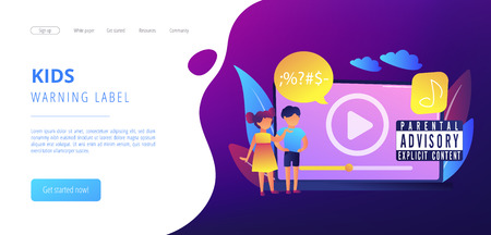 Children at laptop listening to music with parental advisory label warning. Parental advisory, explicit content, kids warning label concept. Website vibrant violet landing web page template.