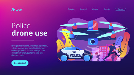 Police car and drone tracking thieve in mask with money and crime scene. Law enforcement drones, police drone use, smart city IoT tools concept. Website vibrant violet landing web page template. Stock Illustratie