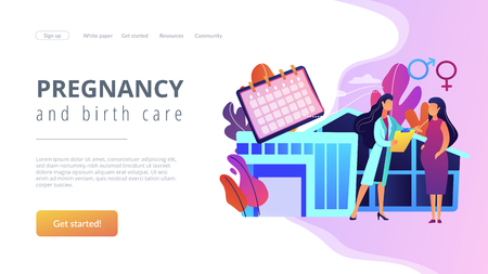 Doctor provides health services to pregnant woman and during labour. Maternity services, maternal perinatal health, pregnancy and birth care concept. Website vibrant violet landing web page template.