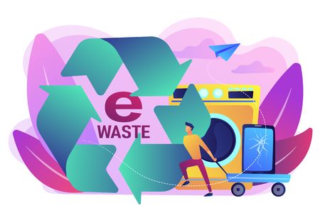 Businessman taking old smartphone in cart to electronic waste recycling. E-waste reduction, electronics trade-in programs, gadgets recycling concept.Bright vibrant violet vector isolated illustration