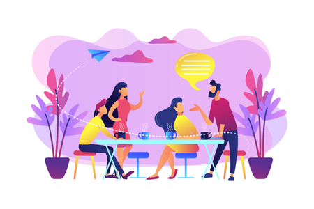 Group of friends sitting at the table talking, drinking coffee and tea, tiny people. Friends meeting, cheer up friend, friendship support concept. Bright vibrant violet vector isolated illustration Illustration