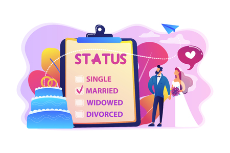 Married couple and marital status on clipboard, tiny people. Relationship status, marital status and separation, marriage and divorce concept. Bright vibrant violet vector isolated illustration