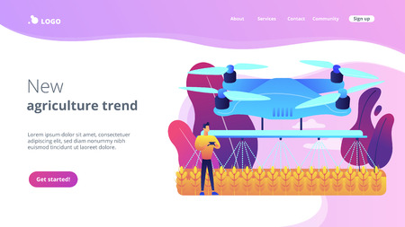 Smart farmer controlling agriculture drone spraying or watering crops. Agriculture drone use, precision farming, new agriculture trend concept. Website vibrant violet landing web page template.