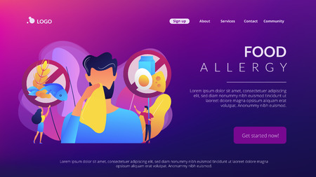 Man having food allergy symptoms to products like fish, milk and eggs. Food allergy, food alergen ingredient, allergy risk factor concept. Website vibrant violet landing web page template.