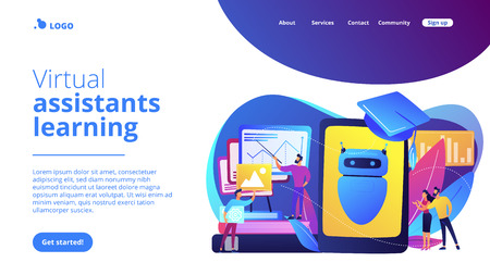 Programmers with charts make chatbot learn data from past results. Chatbot self learning, virtual assistants learning, AI machine learning concept. Website vibrant violet landing web page template. Çizim