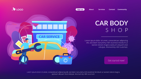 Auto tuner with wrench and toolbox doing vehicle modification at car service. Car tuning, car body shop, vehicle music upgrade concept. Website vibrant violet landing web page template.