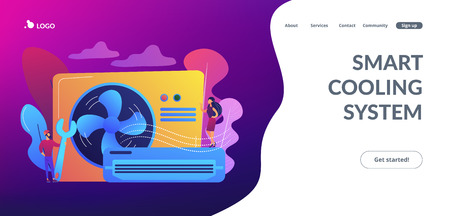 Air conditioner repair worker with wrench, service and maintenance. Air conditioning, smart cooling system, air conditioning units concept. Website vibrant violet landing web page template. Foto de archivo - 116574239