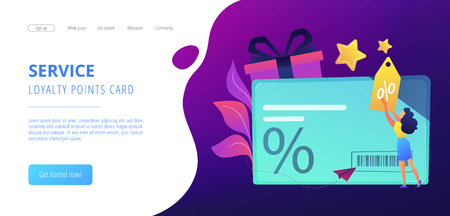 Discount card with percent sign and woman with discount tag. Loyalty program and customer service, retail and rewards card, loyalty points card concept, violet palette. Website landing web page template.
