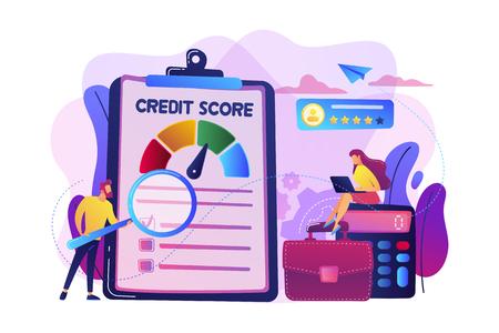 Analitycy Tiny People oceniający zdolność potencjalnego dłużnika do spłaty długu. Ocena kredytowa, kontrola ryzyka kredytowego, koncepcja agencji ratingowej. Jasna, wibrująca fioletowa ilustracja wektorowa na białym tle