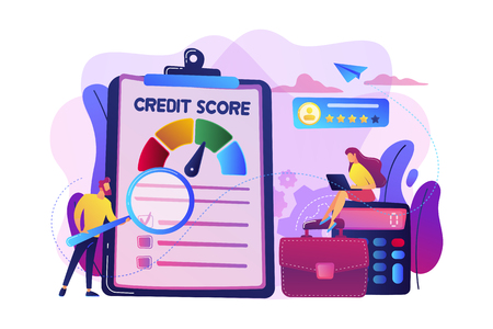 De minuscules analystes évaluent la capacité du débiteur potentiel à payer la dette. Cote de crédit, contrôle du risque de crédit, concept d'agence de notation de crédit. Illustration isolée de vecteur violet vif lumineux