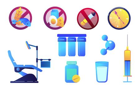Ensemble d'illustrations vectorielles de médecine et de soins de santé. Allergie alimentaire et non-fumeur, chaise et seringue de dentiste, pilules et concept de filtre à eau. Ensemble d'illustrations vectorielles isolé sur fond blanc.