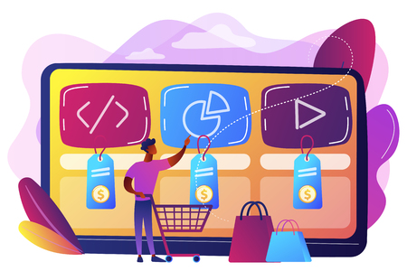 Customer with shopping cart buying digital service online. Digital service marketplace, ready digital solution, online marketplace framework concept. Bright vibrant violet vector isolated illustration 일러스트