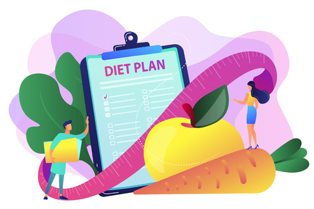 Tiny people nutritionist and diet plan checklist with vegetables, fruit. Nutrition diet, weight-management diet, individual dietary service concept. Bright vibrant violet vector isolated illustration