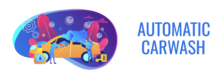 Auto wash attendants cleaning the exterior of the vehicle with special equipment. Car wash service, automatic carwash, self-serve car wash concept. Header or footer banner template with copy space.