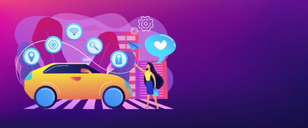 Businesswoman with heart likes using autonomos car with technology icons. Autonomous car, self-driving car, driverless robotic vehicle concept. Header or footer banner template with copy space.