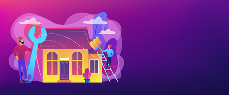 Handyman with big wrench repairing house and painting with paintbrush. DIY repair, do it yourself service, self-service learning concept. Header or footer banner template with copy space. Vettoriali