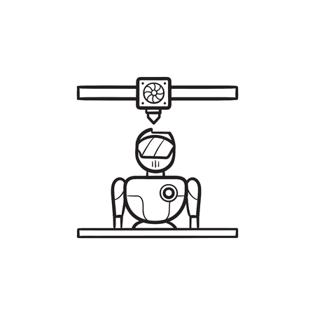 3d printer printing robot hand drawn outline doodle icon. 3d printing and manufacturing, cyborg concept. Vector sketch illustration for print, web, mobile and infographics on white background. Illustration