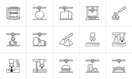 3D printing technology hand drawn outline doodle icon set. Outline doodle icon set for print, web, mobile and infographics. 3d printer vector sketch illustration set isolated on white background.