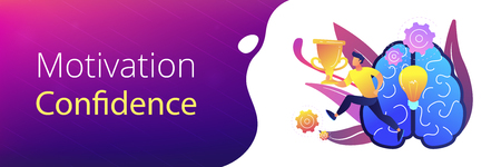 Brain with bulb and user carrying cup. Confidence and winning concept landing page. Challenge and move for success, motivation and goals achievement. Header or footer banner template. 向量圖像