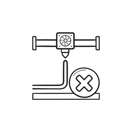 3D printing cancel hand drawn outline doodle icon. 3D printing process canceled, stop printer extruder concept. Vector sketch illustration for print, web, mobile and infographics on white background.
