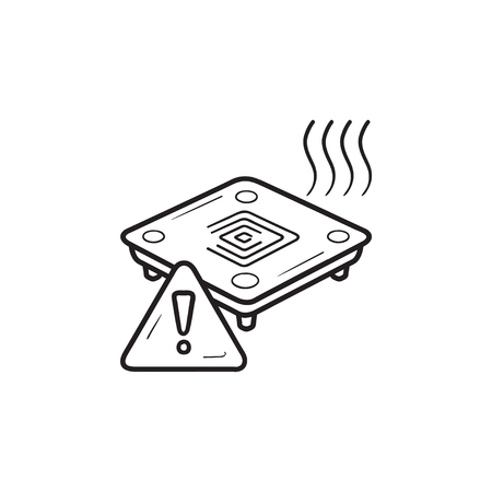 3D printer heated bed warning hand drawn outline doodle icon. 3D printer bed plate temperature warning concept. Vector sketch illustration for print, web, mobile and infographics on white background.