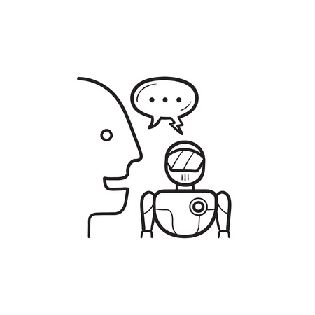 Human and robot communication and speech bubble hand drawn outline doodle icon. Discussion, negotiation concept. Vector sketch illustration for print, web, mobile and infographics on white background.