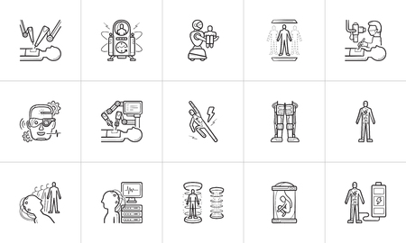 Future technology and futuristic medicine hand drawn outline doodle icon set. 矢量图片