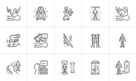 Tecnologia futura e medicina futuristica insieme dell'icona di doodle di contorno disegnato a mano. Vettoriali