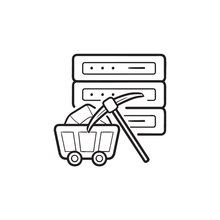 Server and pickaxe hand drawn outline doodle icon. Data mining, data and analytics concept. Vector sketch illustration for print, web, mobile and infographics on white background. Stock Vector - 117277072