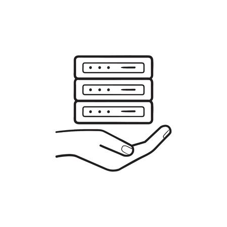 Hand holding server hand drawn outline doodle icon. Server hosting, web hosting services, web server concept. Vector sketch illustration for print, web, mobile and infographics on white background. Illustration