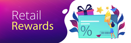 Discount card with percent sign and woman with discount tag. Loyalty program and customer service, retail and rewards card, loyalty points card concept, violet palette. Header, footer banner template. Illustration