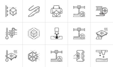 Jeu d'icônes de doodle contour dessiné à la main de la technologie d'impression 3D. Vecteurs