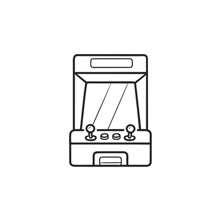 Arcade game machine screen hand drawn outline doodle icon. Retro arcade machine, gaming machinery concept. Vector sketch illustration for print, web, mobile and infographics on white background.