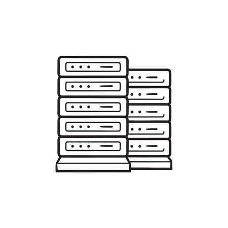Server racks hand drawn outline doodle icon.