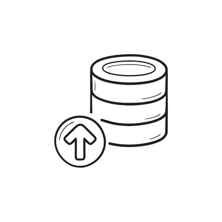 Database storage upload hand drawn outline doodle icon.