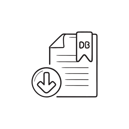 Database file download hand drawn outline doodle icon. File db, database format concept. Vector sketch illustration for print, web, mobile and infographics on white background.
