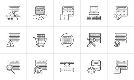 Server hand drawn outline doodle icon set. Ilustração