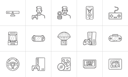Video game and joystick hand drawn outline doodle icon set.