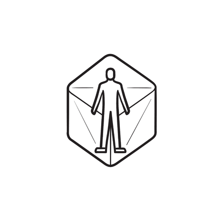 Person in virtual reality 360 degrees hand drawn outline doodle icon. concept. 3d digital world concept. Vector sketch illustration for print, web, mobile and infographics on white background. Illustration