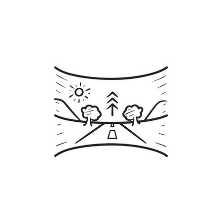 Virtual reality panoramic landscape hand drawn outline doodle icon. VR gaming, 360 degree game panorama concept. Vector sketch illustration for print, web, mobile and infographics on white background.