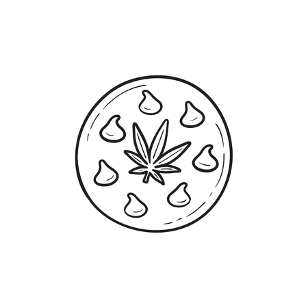 Edible cannabis cookie hand drawn outline doodle icon. Business medical marijuana, cannabis food concept. Vector sketch illustration for print, web, mobile and infographics on white background.