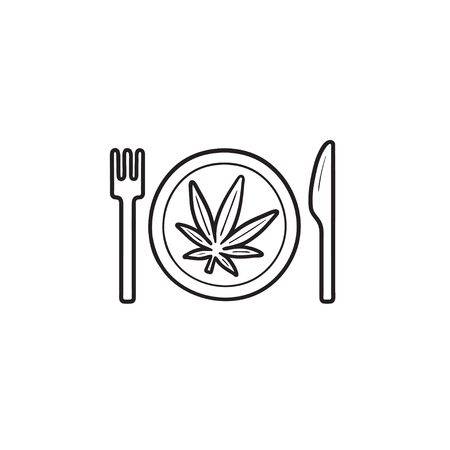 Marijuana leaf on the plate with fork and knife hand drawn outline doodle icon. Cannabis food recipe concept. Vector sketch illustration for print, web, mobile and infographics on white background.