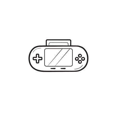 Handheld game console hand drawn outline doodle icon.
