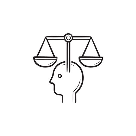 Head with law scales hand drawn outline doodle icon. Stock Illustratie