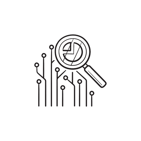 Circuit board under magnifier hand drawn outline doodle icon. Data analysis, data insight, data mining concept. Vector sketch illustration for print, web, mobile and infographics on white background. Illustration