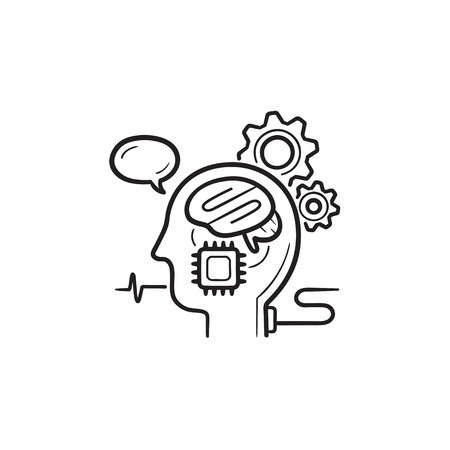 Brain machine interface hand drawn outline doodle icon. Brain-computer and direct neural interface concept. Vector sketch illustration for print, web, mobile and infographics on white background.