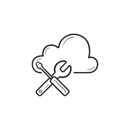 Cloud with wrench and screwdriver hand drawn outline doodle icon. Cloud setting, database maintenance concept. Vector sketch illustration for print, web, mobile and infographics on white background.