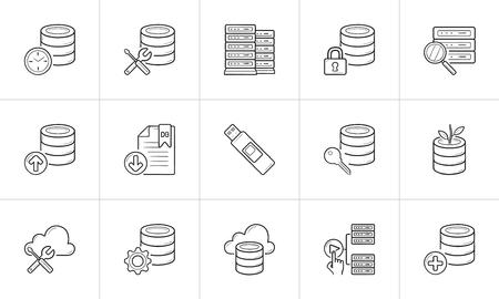 Database management hand drawn outline doodle icon set. Outline doodle icon set for print, web, mobile and infographics. Server racks vector sketch illustration set isolated on white background.
