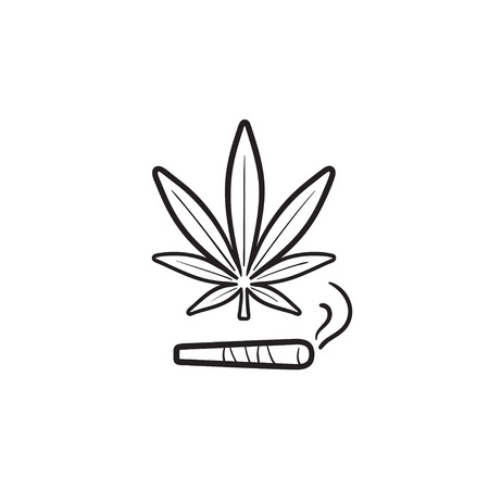 Marijuana joint and leaf hand drawn outline doodle icon.