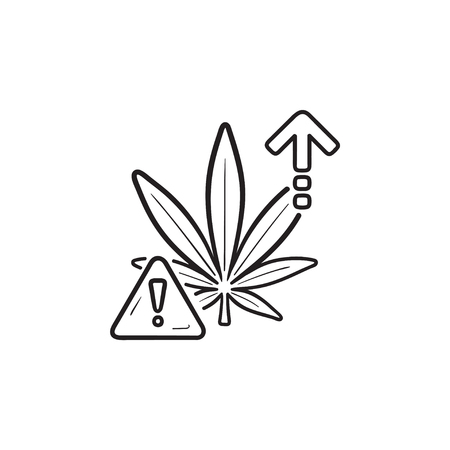 Cannabis overdose effect danger with exclamation point and up arrow hand drawn outline doodle icon. Marijuana. Vector sketch illustration for print, web, mobile and infographics on white background. Illustration
